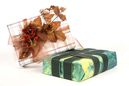 christmas presents with various decoration photo