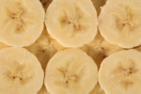 Slices of banana vith detailed view on the fruit pulp Stock Photo