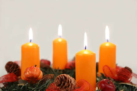 Advent wreath with four candles close-up