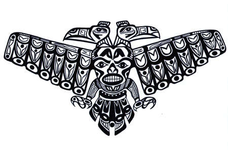 Black tattoo pattern of old indian totem