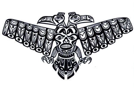 totem indiano: Nero tatuaggio vecchio modello di totem indiano