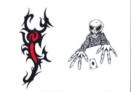 Black, red and white tattoo pattern of lobster and skeleton photo