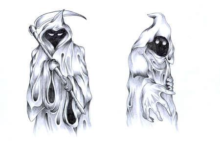 Dwa pozes duchy, deseń cieniowany tatuaż Zdjęcie Seryjne - 3869416