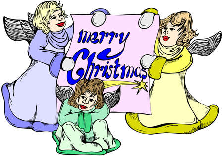 three wishes: Illustration of three angels with wish of merry christmas