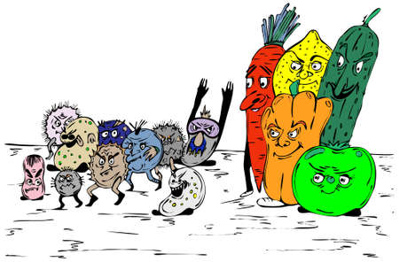 cold virus: Group of bacterias would like to escape before fruit Illustration