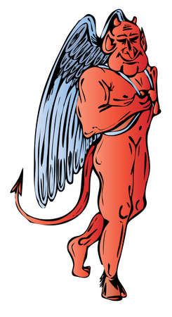 Red devil with nice smile and angels wings Vector