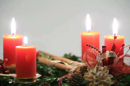 Advent wreath with four orange candles closeup Stock Photo