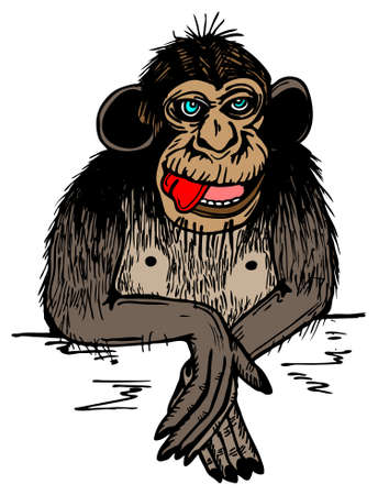 Brown monkey with red tongue in vector illustration