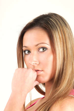 Cute young woman and her think time Stock Photo - 3993694