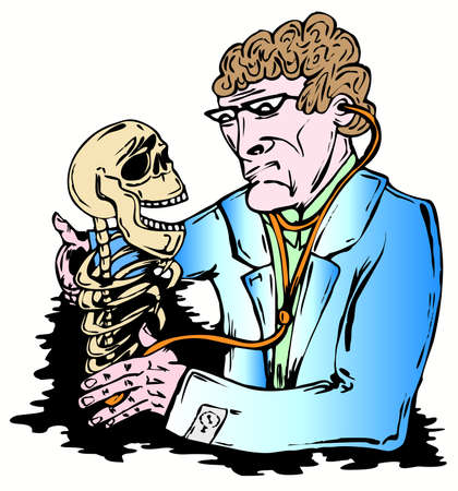auscultoscope: Doctor examines the skull with auscultoscope