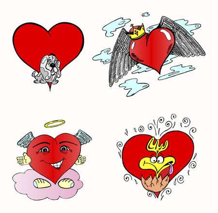 Set of four vector hearts Stock Vector - 4084537