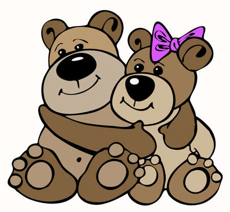 Couple of teddy bears in vector illustration Vector