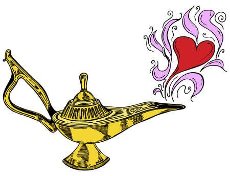 jinn: Alladin l�mpara con corazones en ilustraci�n vectorial
