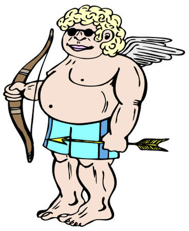 mystic: Mystic god of love Amor with bow Illustration