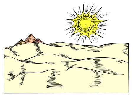 cheops: Egyptian pyramides on desert in vector illustration
