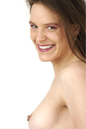 Young girl shows nice nipple piercing