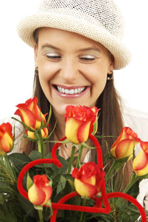 Young girl is suprised by flowers Stock Photo - 4135295