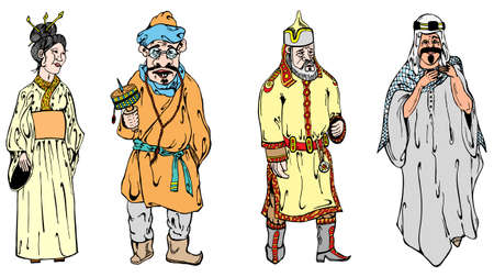 national costume: Four figures in traditional national clothes vector illustration
