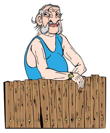 Buurvrouw kijkt achter zijn hek in vector illustration