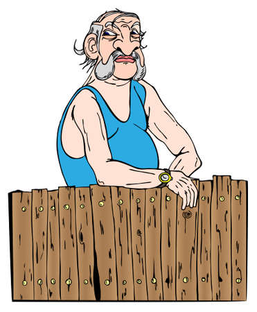 jaundice: Neighbour looks behind his fence in vector illustration
