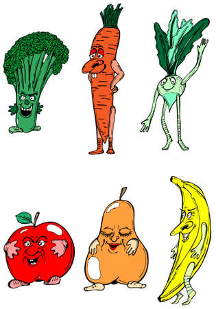vitamine: Set of colored vector fruit and vegetable Illustration