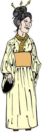 donna giapponese: Giapponese donna in abiti tradizionali illustrazione vettoriale Vettoriali