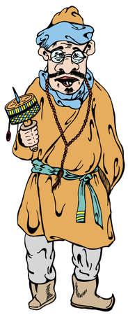 tibetian: Tibetian man in vector illustration Illustration