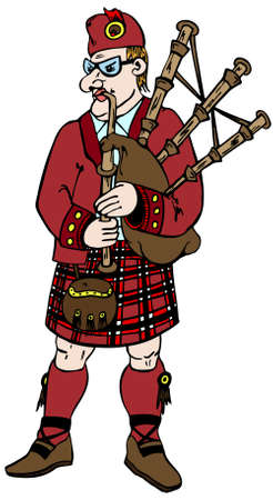 Scotsman in traditional clothes with bag-pipes Illustration