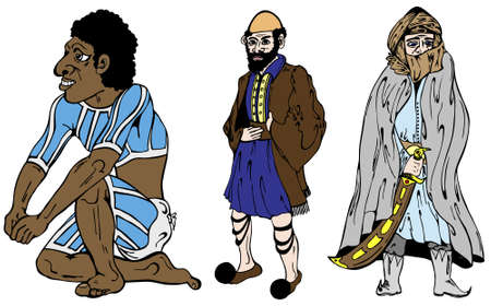three men: Three men from different countries in vector illustration Illustration