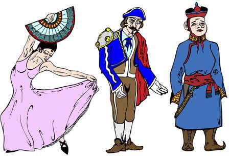 torero: Drei Personen aus verschiedenen L�ndern in Vektor-Illustration