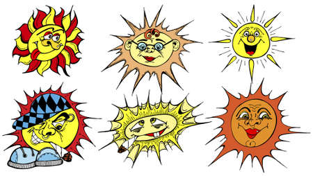 cigaret: Set of six funny suns in vector illustration