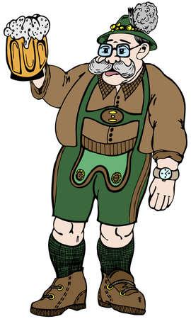 austrian: Austrian grandpa with glass of beer in vector illustration Illustration