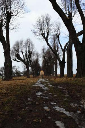 desolate: Desolate small church in small village Stock Photo