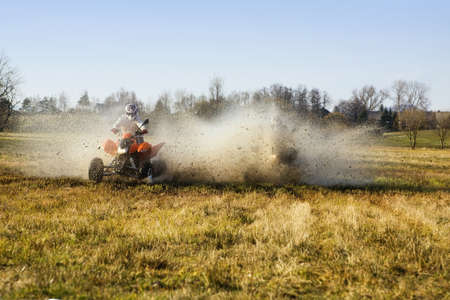 Water match of two quad riders in autumn Stock Photo