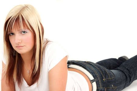 Beautiful blonde teenage girl with cute eyes