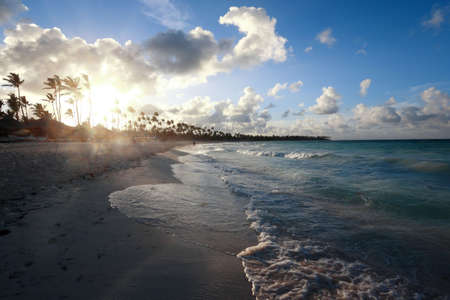 Sunset at beach of Punta Cana, Dominican Republic photo