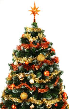 Decorated Christmas tree, studio shot Stock Photo