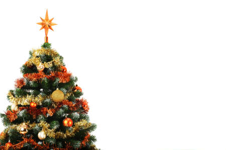 Decorated Christmas tree with copy space,  studio shot Stock Photo