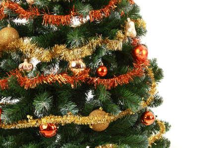 Decorated Christmas tree close up,  studio shot