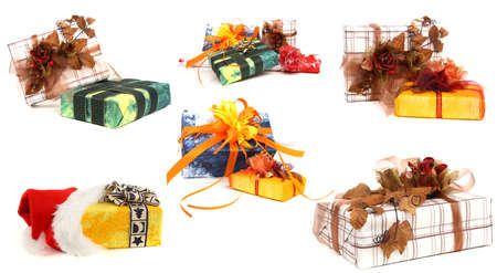 Set of various christmas presents isolated on white background