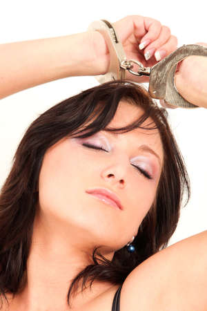 Portrait of sexy bondaged woman with handcuffs Stock Photo - 6068403