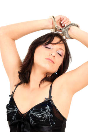 Portrait of young woman in lingerie with hancuffs on her hands Stock Photo - 6708653