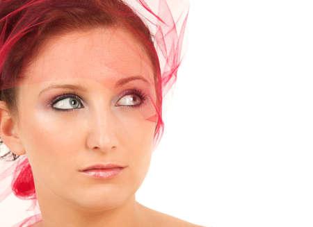 yashmak: Portrait of teenage girl with yashmak looking up
