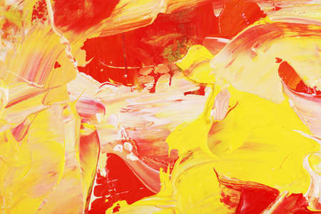 Art oil paint with yellow and red shapes