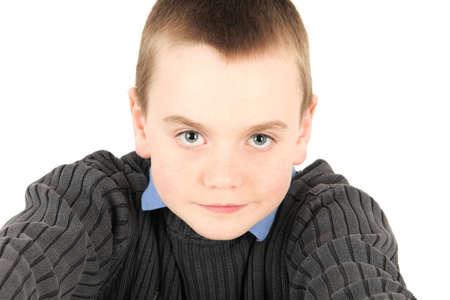 Portrait of young boy, studio shot Stock Photo