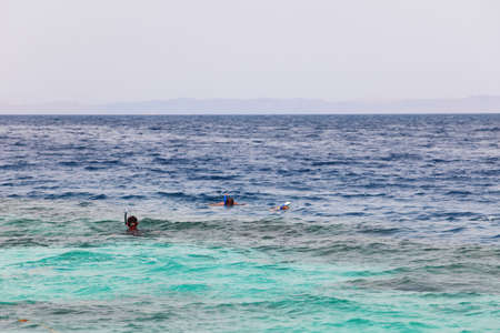 Divers snorkeling in Red Sea, Egypt