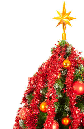 Decorated Christmas tree over white background, with copyspace Stock Photo