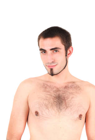 nipple piercing: Portrait of young, bare-chested man, studio shot
