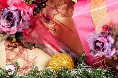 Close-up view of Christmas decorations with beautifully decorated two presents Stock Photo
