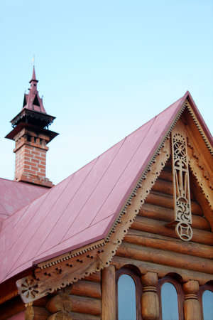 Roof of russian ethnic home with carved ornaments Stock Photo - 4425000